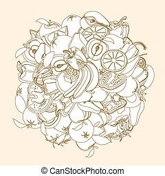 disegni, set, illustration., frutta, isolato, vettore