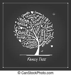 disegno, albero, famiglia, tuo, schizzo