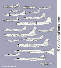 disegno, americano, aereo, bombers., storia, contorno, vettore, profiles.