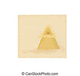 disegno, antico, occhio, piramide