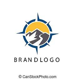 disegno, bussola, template., vettore, logotipo, esterno, ispirazione