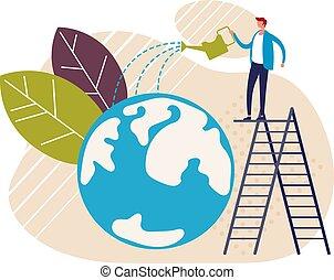 disegno, cartone animato, risparmiare, terra, concept., vettore, grafico, ambiente, appartamento, pianeta, illustrazione