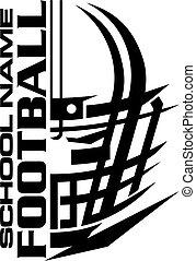 disegno, casco football, scuola, squadra, facemask