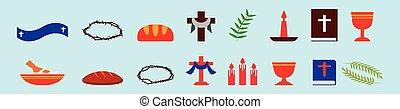 disegno, cristiano, isolato, set, vario, fondo, cartone animato, vettore, illustrazione, icona, models., sagoma, blu