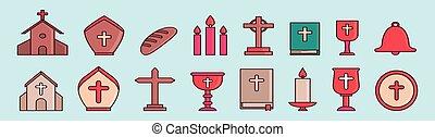 disegno, cristiano, isolato, set, vario, religioso, cartone animato, vettore, illustrazione, fondo, icona, models., sagoma, blu