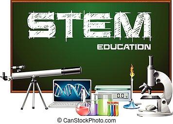 disegno, equipments, scienza, manifesto, gambo, educazione