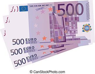disegno, euro, 3x, bil, vettore, 500