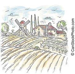 disegno, fattoria, stile, acquarello, inciso, linee, vettore, grigio, bianco
