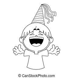 disegno, felice, festa, icona, cartone animato, ragazzo cappello, appartamento