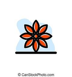 disegno, fiore rosso, concettuale, vettore, icona, illustrazione