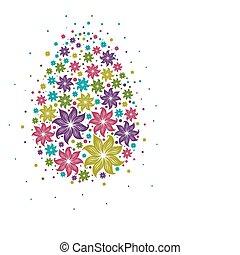 disegno, fiori, uovo, pasqua