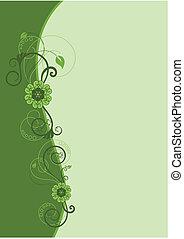 disegno floreale, 2, bordo, verde
