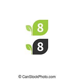 disegno, foglia, 8, logotipo, numero, concetto, icona
