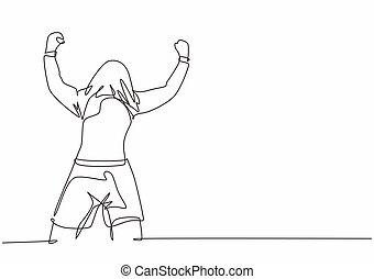 disegno, football, suo, giovane, celebrazione, illustrazione, linea, field., giocatore, jersey, segnare, vettore, continuo, concetto, mantello, singolo, festeggiare, uno, scopo, testa, disegnare, disegno