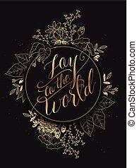 disegno, gioia, mondo, calligrafia