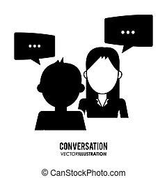 disegno, icone, conversazione