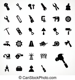 disegno, insieme costruzione, icone