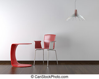 disegno, interno, tavola, sedia, bianco rosso
