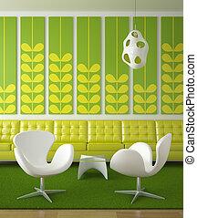 disegno interno, verde, retro