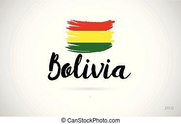 disegno, logotipo, paese, grunge, icona, concetto, bandiera, bolivia
