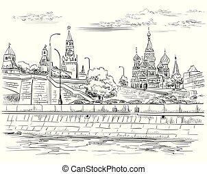 disegno, mano, vettore, moscow-4