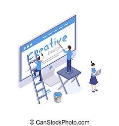 disegno, mobile, creare, studio, grafico, 3d, idee, clipart., ux, vettore, isolato, disegno, isometrico, ricerca, sviluppo, app, homepage, web, interfaccia, illustration., soluzioni, progettista, ui