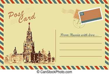 disegno, mosca, acquarello, cremlino, vendemmia, cartolina, mano