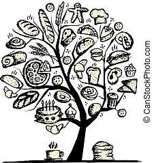 disegno, panetteria, concetto, albero, tuo