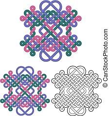 disegno quadrato, emblema, annodato, cicli