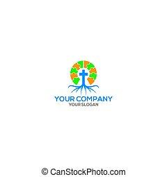 disegno, radice, chiesa, vettore, logotipo, puzzle