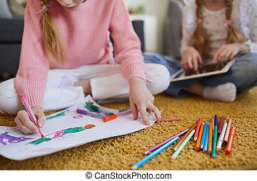 disegno, ragazza, matite