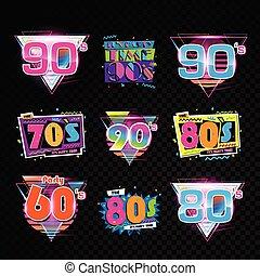 disegno, retro, 90s, 80s, 70s, fondo, 60s