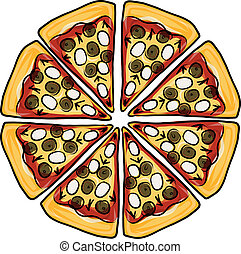 disegno, schizzo, pizza, tuo, pezzi