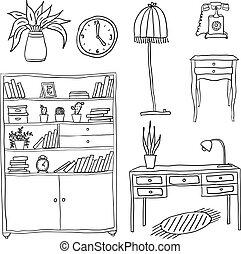 disegno, set, -, elementi, mobilia