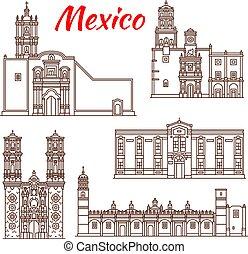 disegno, turismo, punto di riferimento, viaggiare, icona, messicano