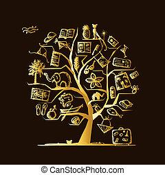 disegno, viaggiare, concetto, albero, tuo