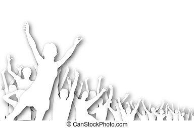 disinserimento, silhouette, folla