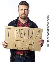 disoccupato, bianco, isolato, fondo, uomo