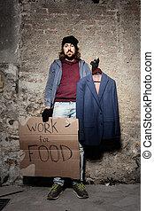 disoccupato, cibo, lavoro, segno, cartone, uomo