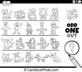 dispari, pagina, gioco, immagine, coloritura, uno, fuori, libro