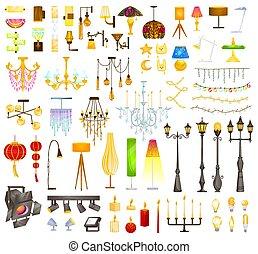 dispositivi per fissaggio e serraggio, illustrazione, collezione, appartamento, moderno, interno, elemento, vendemmia, illuminazione, lampada, cartone animato, candeliere, congegni, o, vettore, elettrico