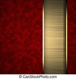 disposizione, oro, struttura, striscia, fondo, rosso
