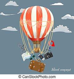disposizione, sagoma, concetto, vettore, annunci, balloon, illustration., adverstisement, tuo, viaggio æreo, design., elements.