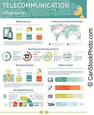 disposizione, telecomunicazione, infographics
