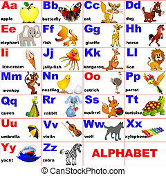 disposto, animali, lettera, alfabeto