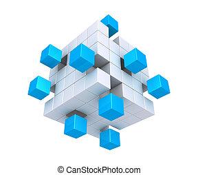 distaccato, cubi, quadrato, oggetto