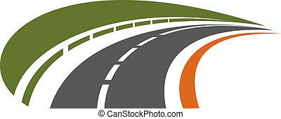 distanza, curvatura, tarred, strada, recedere