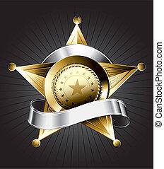 distintivo, disegno, sceriffo