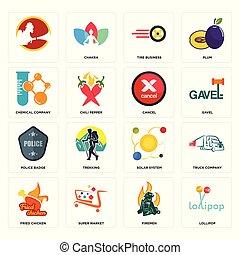 distintivo, ditta, polizia, pneumatico, icone, sistema, pollo, affari, chimico, annullare, set, solare, pompieri, lecca lecca, fritto