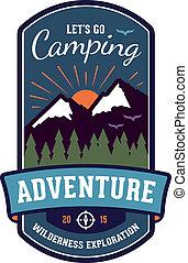 distintivo, emblema, avventura, campeggio
